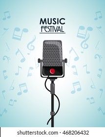 microphone music note sound media festival icon. Flat and Colorfull illustration. Vector graphic