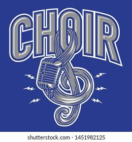 Microphone Musical Choir Emblem. Logo Vector