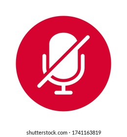 microphone mute icon isolated vector illustration. simple icon on white background.