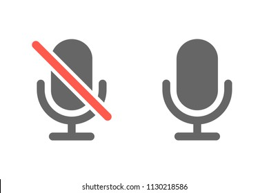 Microphone and muted microphone icon, vector illustration
