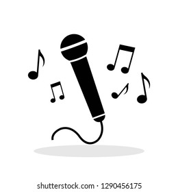 Microphone with notes icon in flat style. Mic symbol for your web site design, logo, app, UI Vector EPS 10.