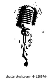 Microphone with notes. Vector illustration