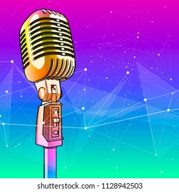 A microphone on a color technological background is surrounded by a sound wave. Atmosphere of sound recording studio, chamber concert, night disco club or karaoke club / vector