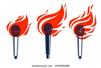 Microphone on fire, hot mic in flames, rap battle rhymes music, karaoke singing or standup comedy, vector logos or illustrations set, concert festival or night club labela, t-shirt prints.