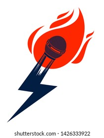 Microphone on fire and shape of lightning, hot mic in flames and bolt, breaking news concept, rap battle rhymes music, karaoke singing or standup comedy, vector logo or illustration.