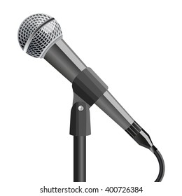 Microphone on stand, on white background. Vector illustration.