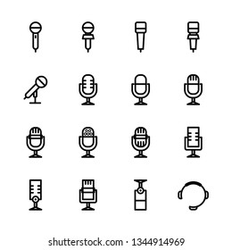 Microphone outline Icon set vector. Mic sign. Karaoke microphone icon. Broadcast mic sign - Vector