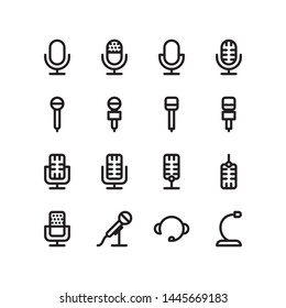 Microphone outline Icon set vector. Mic sign. Karaoke microphone icon. Broadcast mic sign