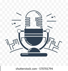 microphone for the radio against the backdrop of the city. Icon in the linear style black and white illustration