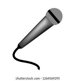 Microphone realistic, gray on a white background, vector