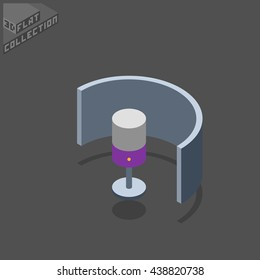 Microphone and Reflexion Screen. Musical Equipment. 3D Isometric Low Poly Flat Design. Vector illustration.