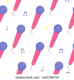 Microphone seamless color pattern. The figure of microphones, all items are available for editing. Vector illustration