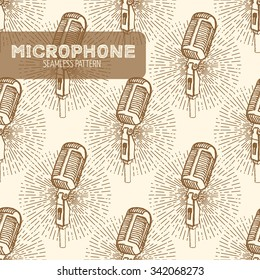 Microphone seamless pattern. Vintage style, hand drawn pen and ink.  Vector seamless pattern. Retro design element for electronics store packaging, studio, disco or karaoke club, or t-shirt design