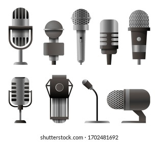 Microphone set in realistic style. Microphones for audio podcast broadcast. illustration isolated on white background