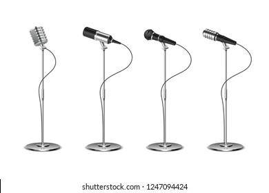 Microphone set. Standing microphones audio equipment. Concept and karaoke music mics vector isolated collection