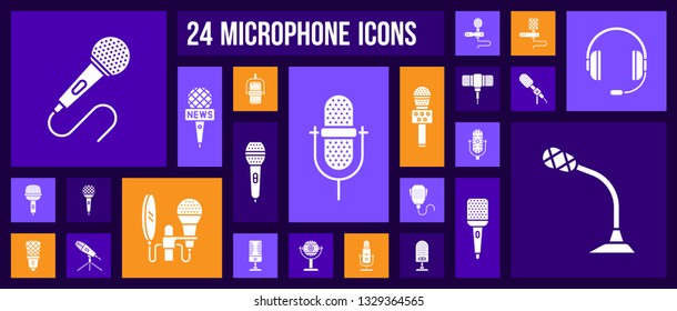 Microphone silhouette icons set. Isolated sign kit of mic. Journalist Interview pictograms includes karaoke party, sing, professional speaker. Simple white contour symbol. Mike vector Icon shape