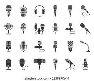 Microphone silhouette icons set. Web sign kit of mic. Journalist Interview pictograms of conference technology, song, vocal. Simple voice recorder black symbol isolated on white. Vector Icon shape