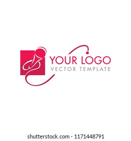 Microphone silhouette in rectangle - vector logo template for leading, singer, event, karaoke party
