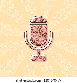microphone. simple silhouette. Vintage retro typography with offset printing effect. Dots poster with comics pop art background