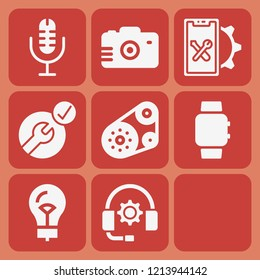 Microphone, smartwatch, camera, smartphone, timing belt, blueprint, support, lightbulb icon set suitable for info graphics, websites and print media and interfaces