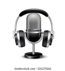 Microphone with stand and headphones vintage retro style sound recording equipment realistic image shadow white background vector illustration