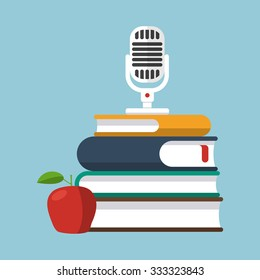 Microphone stands on a pile of books, and apple. Concept of remote education, business seminar or podcasting. Set of flat objects. Elements of recording studio or education center(library).
