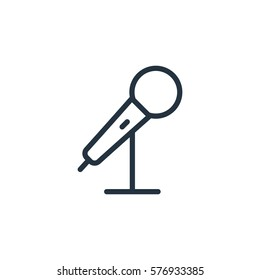 microphone thin line icon set on white background, audio, music, flat, minimalistic