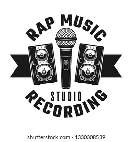 Microphone and two speakers vector rap music emblem, badge, label or logo in vintage monochrome style isolated on white background