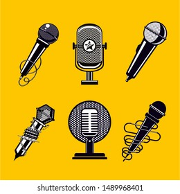 Microphone vector icon set. Vintage mic collection. Retro signs on isolated background.