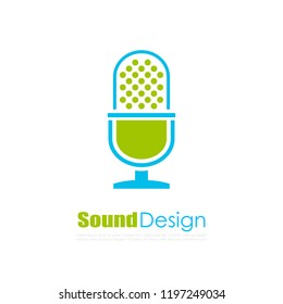 Microphone vector logo isolated on white background
