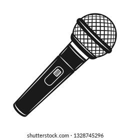Microphone vector object or design element in monochrome vintage style isolated on white background