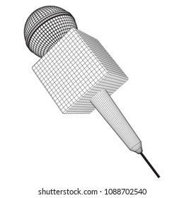 Microphone vector. Wireframe low poly mesh news illustration. News on TV and radio. Interview.