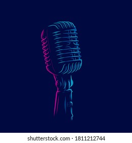 microphone vintage retro mic line pop art potrait logo colorful design with dark background. Abstract vector illustration.