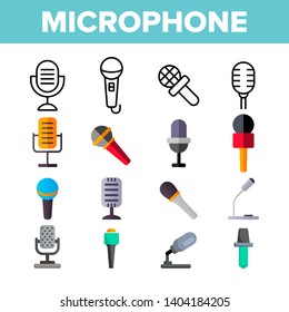 Microphone, Voice Recording Vector Color Icons Set. Retro, Vintage And Modern Microphone. Music Record Studio Logo. Sound Editing App Linear Symbols Pack. Professional Mic Isolated Flat Illustrations