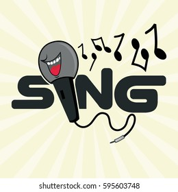 Microphone Word Sing With Musical Note Vector