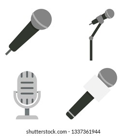 Microphones and dictaphone vector flat icons isolated on white background