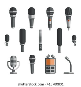 Microphones and dictaphone vector flat icons. Icon microphone, dictaphone electronic and recorder microphone, equipment microphone, device dictaphone, audio technology dictaphone illustration
