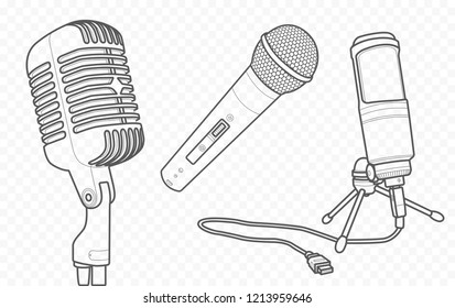 Microphones vector outline and contour illustration and sketch for singing song, voice and music recording
