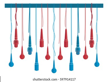 Microphones vector set in a flat style white isolated. Creative concept to illustrate an reportage, interview, karaoke, song, music. Red and blue microphones.