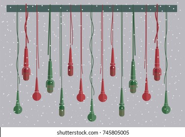 Microphones vector set in a flat style with snowy gray background. Creative concept to illustrate an reportage, interview, karaoke, song, music and podcast. Red and green Christmas color microphones.