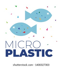 Microplastic particles in the water and inside dead fish. Ocean pollution ecology problem. Environmental human impact on nature vector flat concept. Health risk of micro plastic pieces in food.