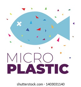 Microplastic particles in the water and inside dead fish. Ocean pollution ecology problem. Environmental impact on nature vector flat concept. Health risk of micro plastic pieces in food.