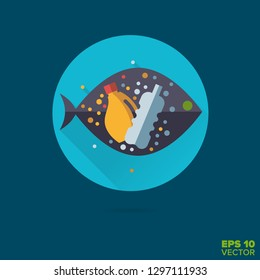 Microplastics in fish flat design long shadow vector icon