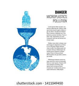 Of microplastics in the water vector banner. The concept of water pollution of the oceans and ecosystems by microplastics. Bottled water with microplastics