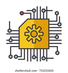 Microscheme, ai, artificial intelligence flat line illustration, concept vector isolated icon