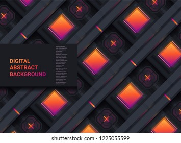 Microscheme technology structure pattern. Digital abstract background. Vector sci fi texture.