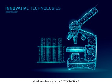 Microscope bacteria 3D low poly render probiotics. Laboratory analysis microorganism. Healthy flora of human body. Modern science technology medicine allergy immunity thearment vector illustration