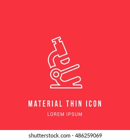 Microscope Bright red material designed line thin flat icon / logo
