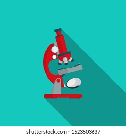 Microscope cartoon vector flat design with long shadow