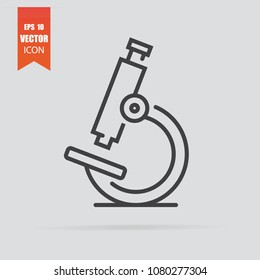 Microscope icon in flat style isolated on grey background. For your design, logo. Vector illustration.